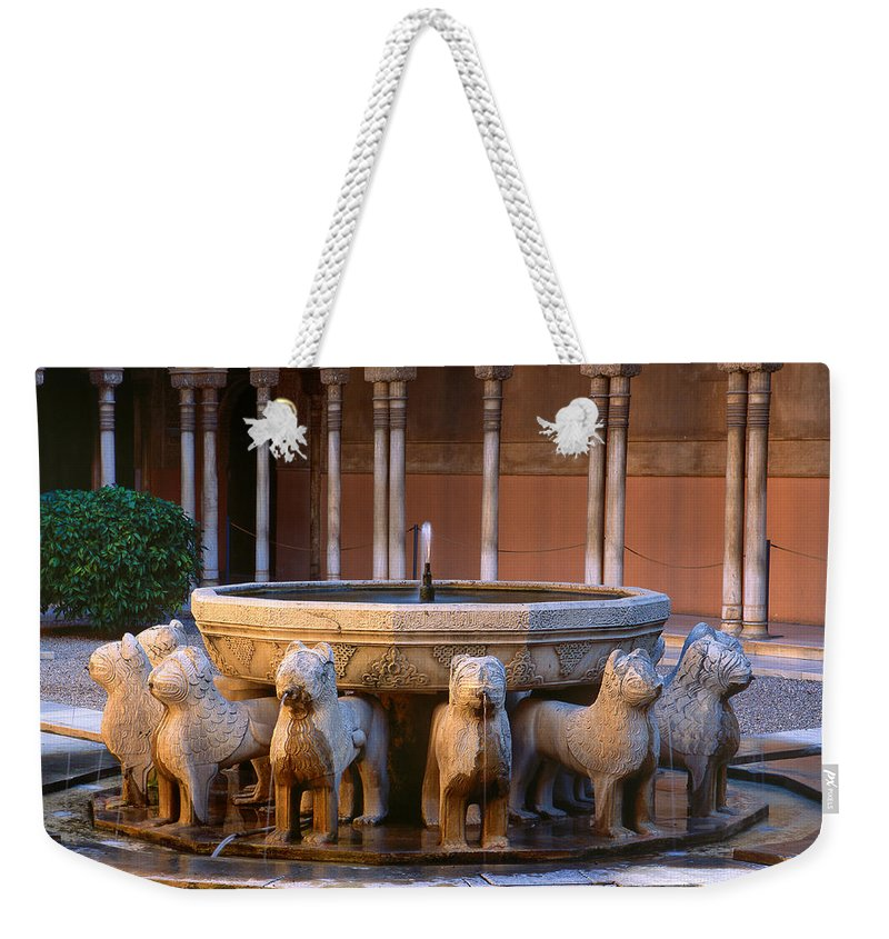 The Alhambra Weekender Tote Bag featuring the photograph Court Of The Lions In The Alhambra by Guido Montanes Castillo