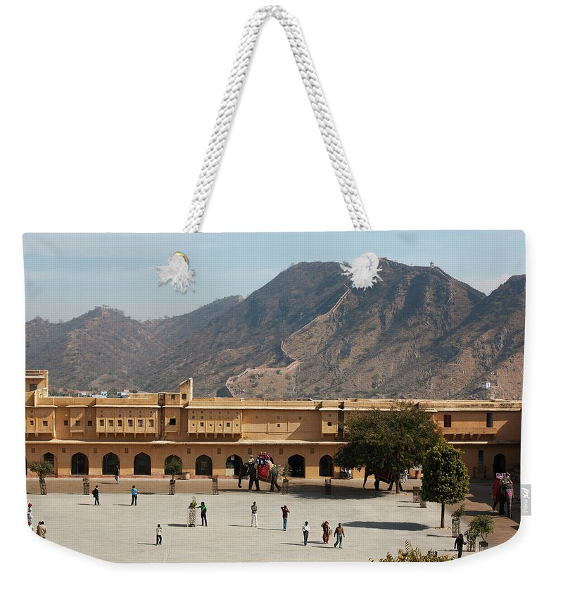 Shadow Weekender Tote Bag featuring the photograph Courtyard Of Amer Fort, Rajasthan by Bjarte Rettedal