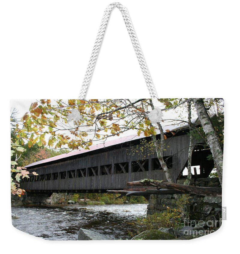 Covered Bridge Weekender Tote Bag featuring the photograph Covered Bridge Albany by Christiane Schulze Art And Photography