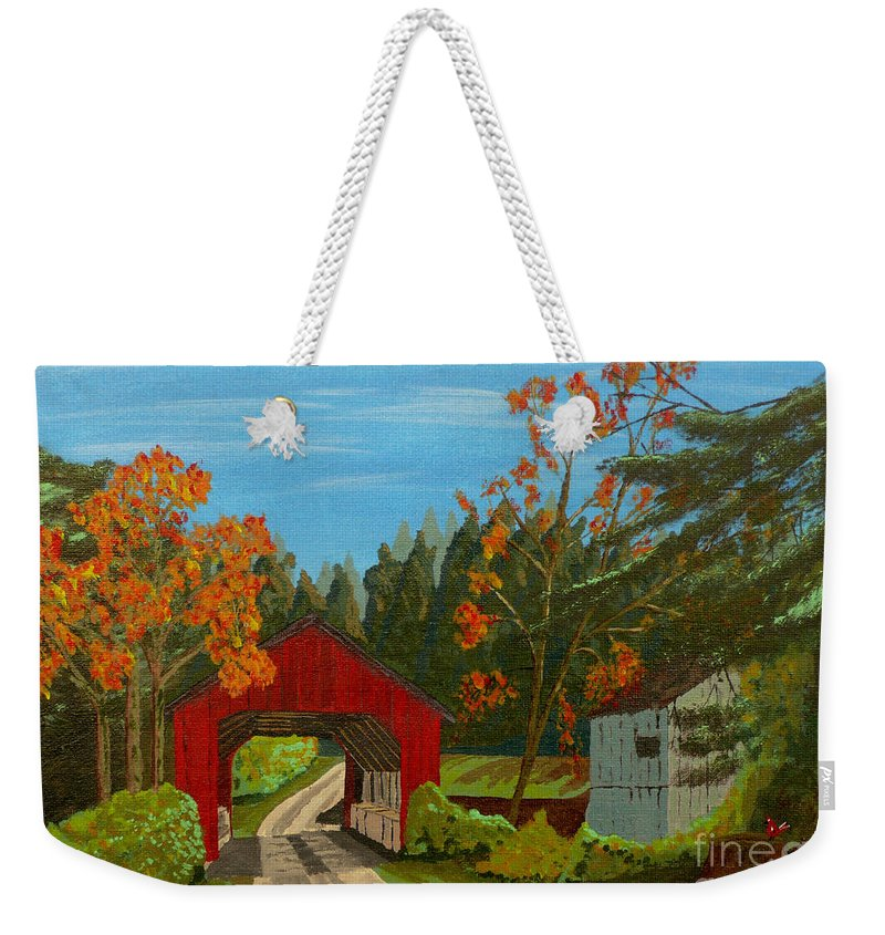 Path Weekender Tote Bag featuring the painting Covered Bridge by Anthony Dunphy