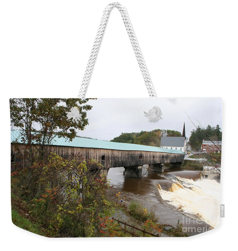 Covered Bridge Weekender Tote Bag featuring the photograph Covered Bridge Bath by Christiane Schulze Art And Photography