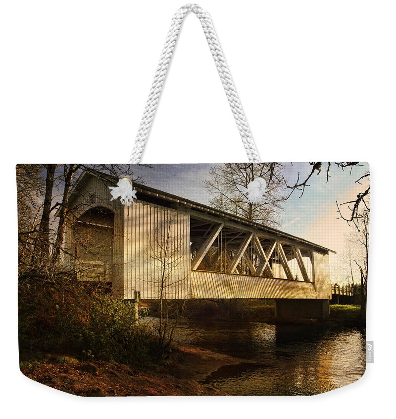 Bridge Weekender Tote Bag featuring the photograph Covered Bridge by Wes and Dotty Weber