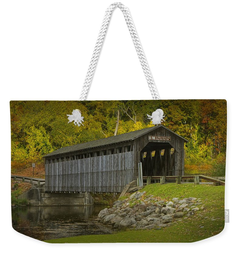 Art Weekender Tote Bag featuring the photograph Covered Bridge In Fall by Randall Nyhof