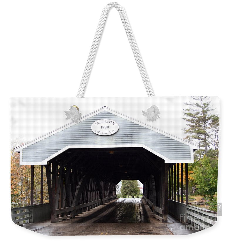 Covered Bridge Weekender Tote Bag featuring the photograph Covered Bridge North Conway Sacco River by Christiane Schulze Art And Photography