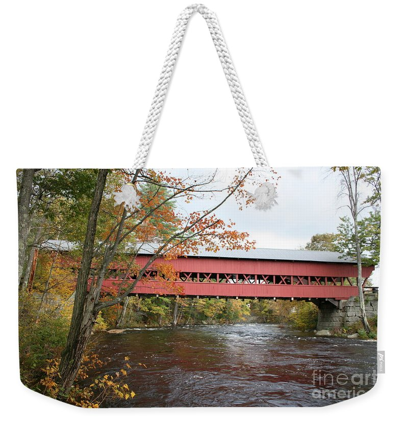 Covered Bridge Weekender Tote Bag featuring the photograph Covered Bridge Over Swift River by Christiane Schulze Art And Photography