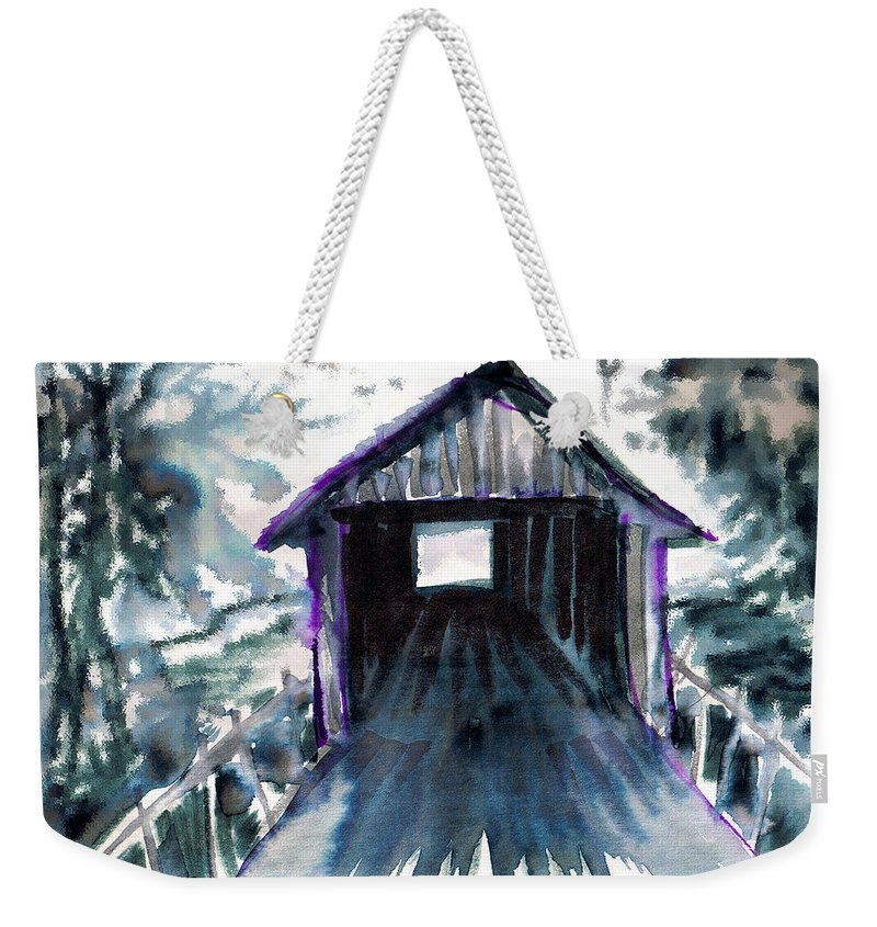 Old South Weekender Tote Bag featuring the digital art Covered Bridge by Seth Weaver