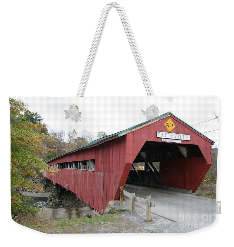 Covered Bridge Weekender Tote Bag featuring the photograph Covered Bridge Taftsville by Christiane Schulze Art And Photography