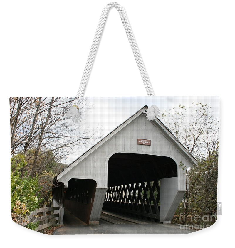 Covered Bridge Weekender Tote Bag featuring the photograph Covered Bridge - Woodstock by Christiane Schulze Art And Photography
