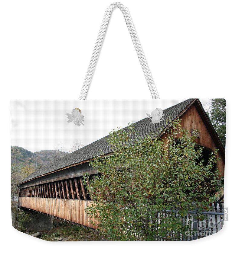 Covered Bridge Weekender Tote Bag featuring the photograph Covered Bridge - Woodstock - Vermont by Christiane Schulze Art And Photography