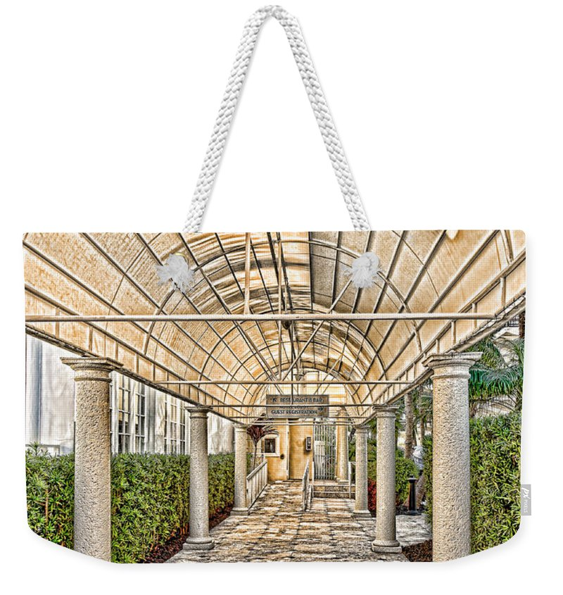 Walkway Weekender Tote Bag featuring the photograph Covered Walkway by Les Palenik