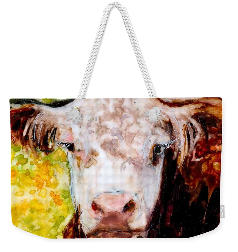 Hereford Weekender Tote Bag featuring the painting Cow Face by Molly Poole