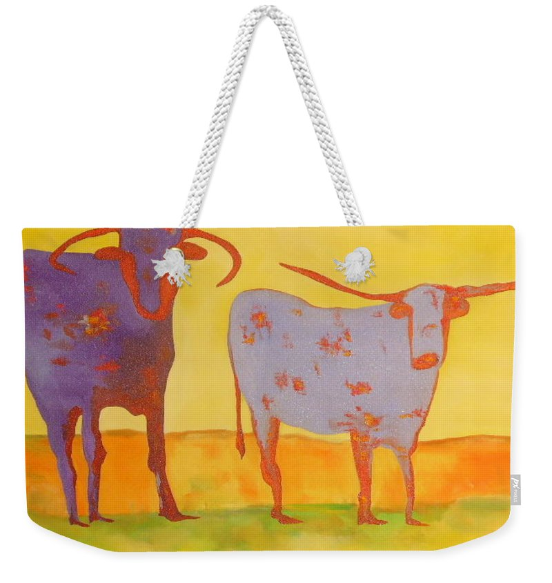Oil On Canus Weekender Tote Bag featuring the painting Cowboy Boots by Lord Frederick Lyle Morris