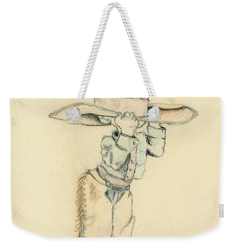 Cowboy Weekender Tote Bag featuring the drawing Cowboy by Sam Sidders