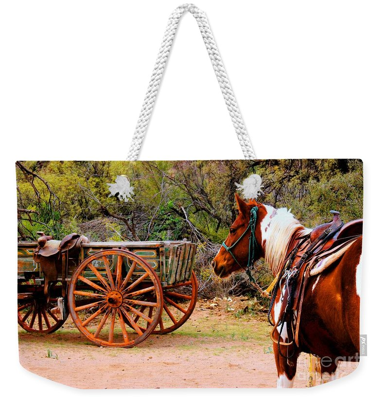 Western Destinations Weekender Tote Bag featuring the photograph Cowboy Up by Tap On Photo