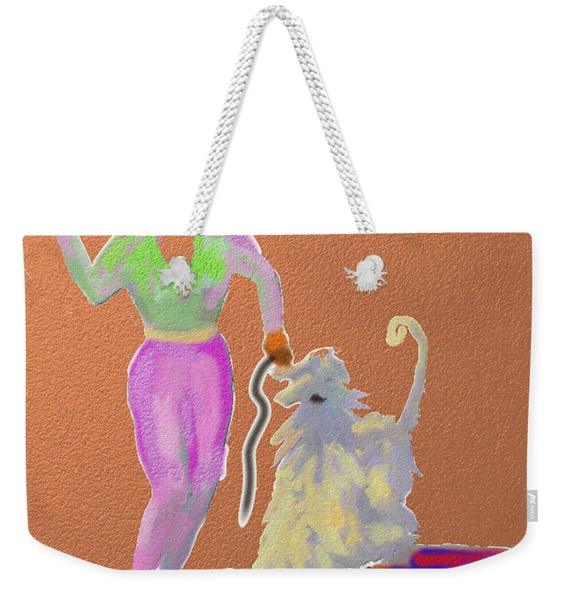 Ipad Finger Painting Weekender Tote Bag featuring the painting Cowgirl by Terry Chacon