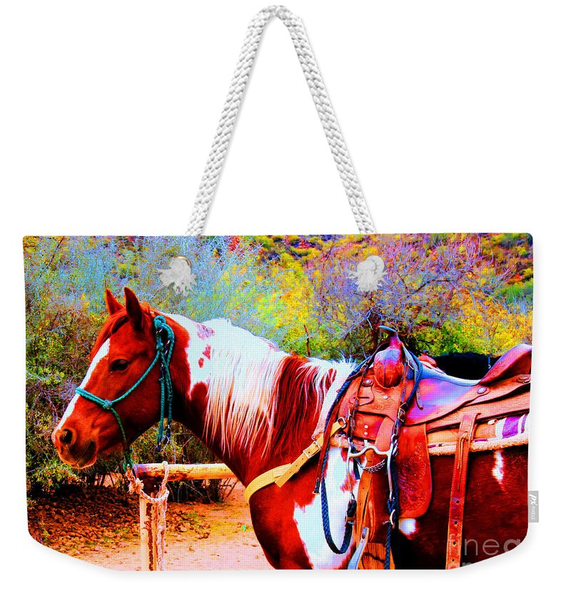 Paint Weekender Tote Bag featuring the photograph Cowgirl Up by Tap On Photo