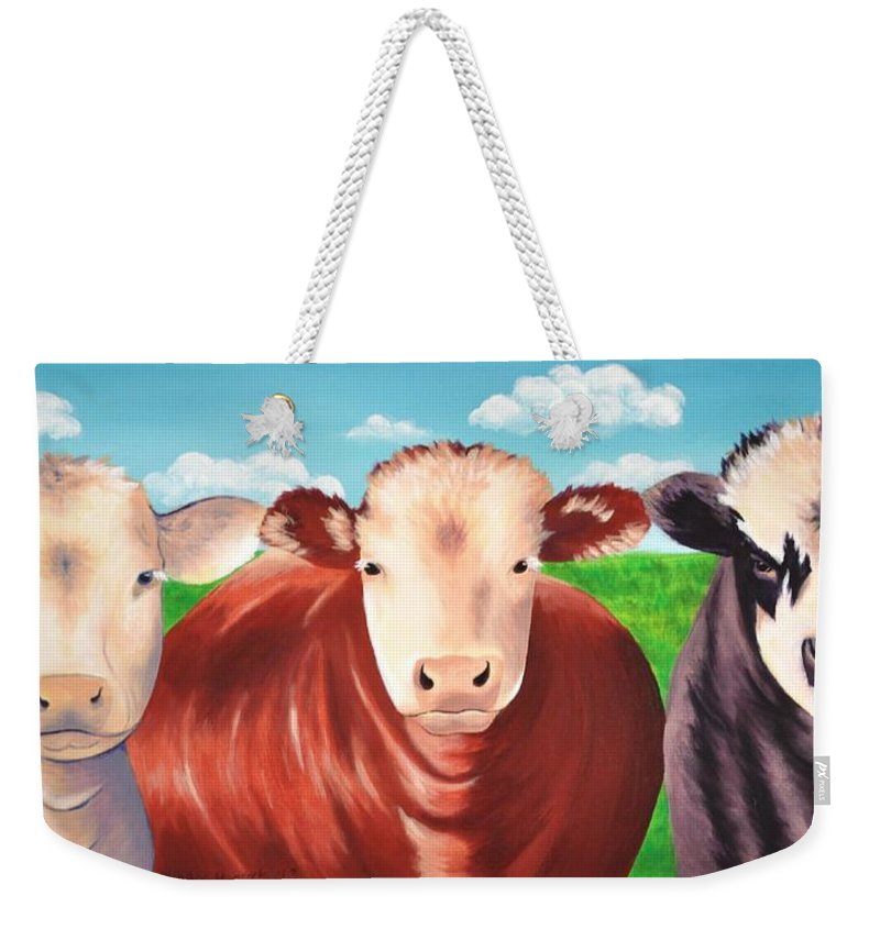 Cows Weekender Tote Bag featuring the painting Cows Out To Pasture by Heather Hancock
