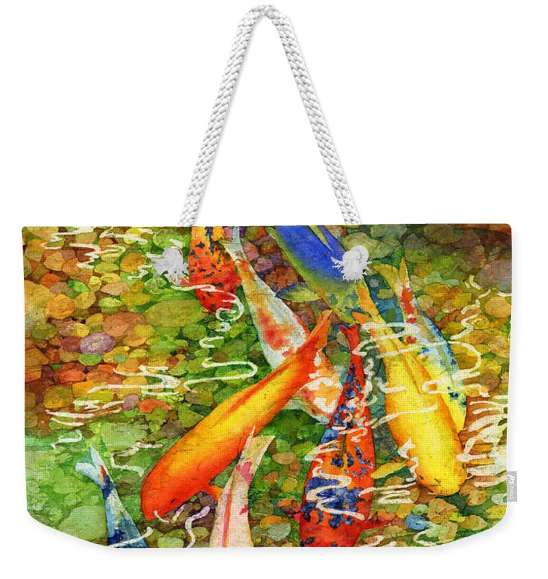 Watercolor Weekender Tote Bag featuring the painting Coy Koi by Hailey E Herrera