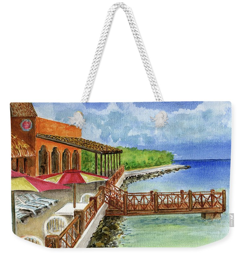 Cozumel Mexico Little Pier Weekender Tote Bag featuring the painting Cozumel Mexico Little Pier by Frank Hunter