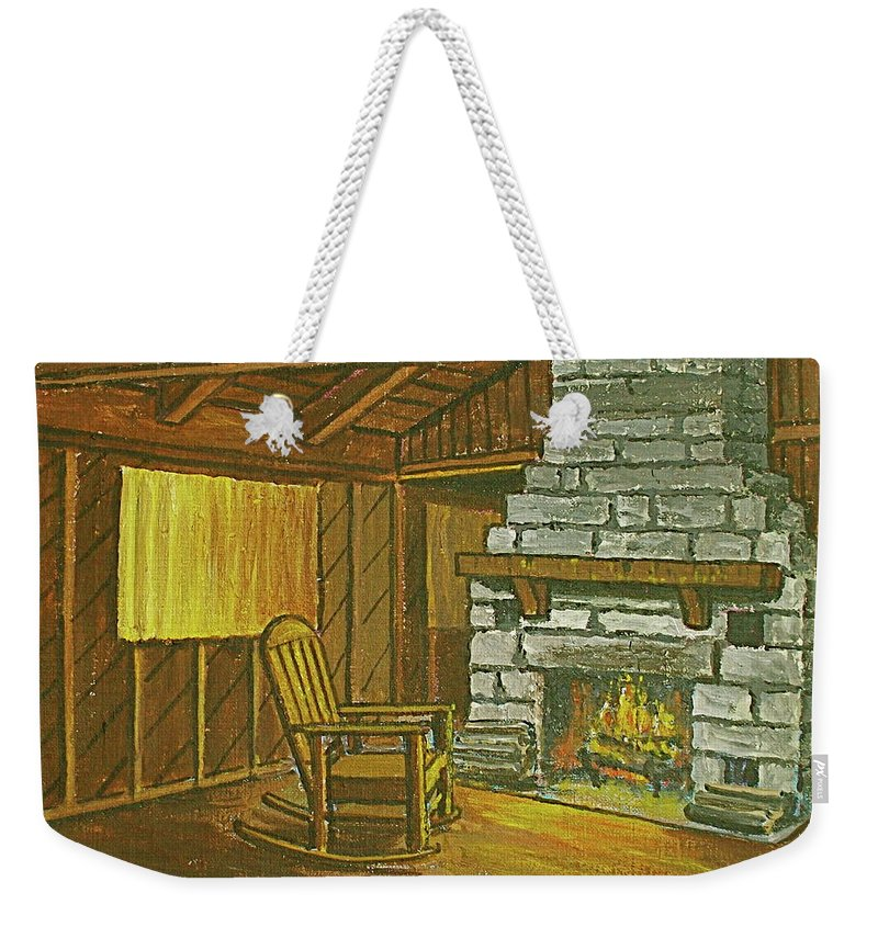 Cozy Fireplace Lake Hope Chimney Chair Yellow Curtains. Weekender Tote Bag featuring the painting Cozy Fireplace At Lake Hope Ohio by Frank Hunter