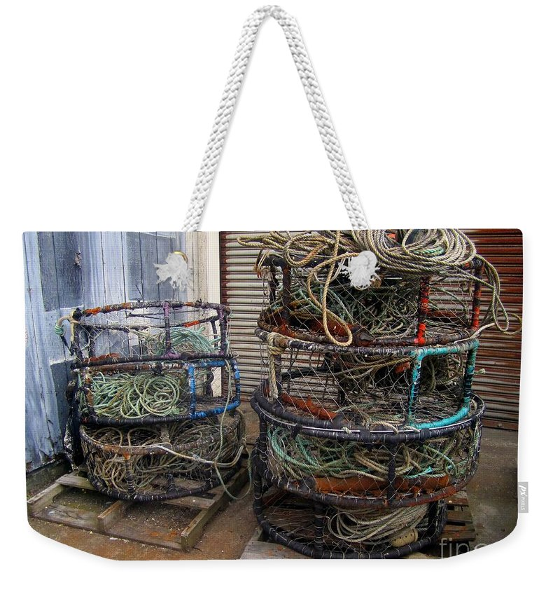 Crab Pots Weekender Tote Bag featuring the photograph Crab Pots by Fiona Kennard