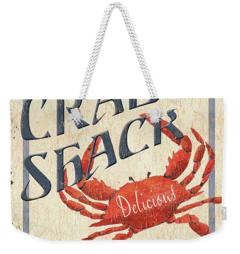 Crab Weekender Tote Bag featuring the painting Crab Shack by Debbie DeWitt