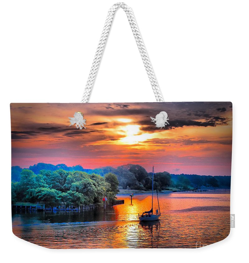 Sailboat Weekender Tote Bag featuring the photograph Crack O' Dawn by Robert McCubbin