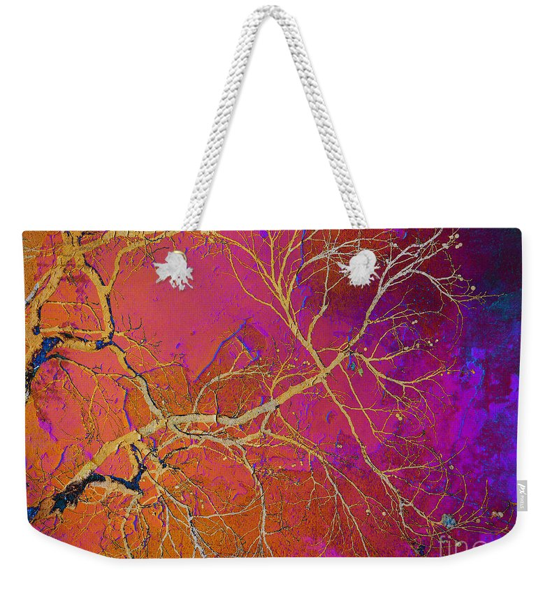 Abstract Weekender Tote Bag featuring the photograph Crackling Branches by Meghan aka FireBonnet