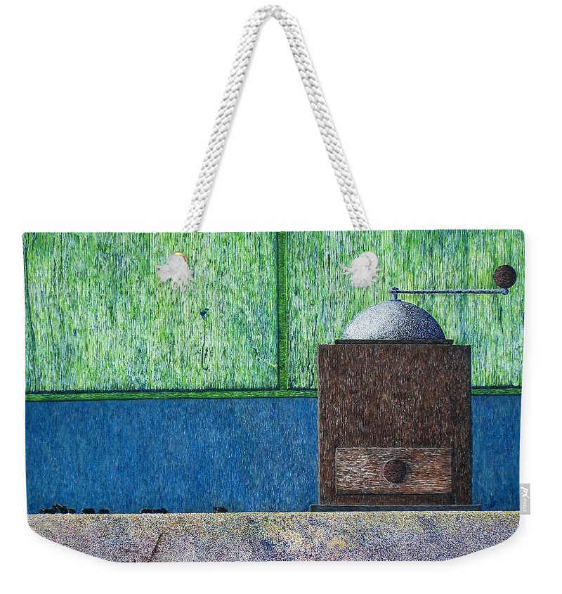 Still Life Weekender Tote Bag featuring the painting Crafting Creation by A Robert Malcom