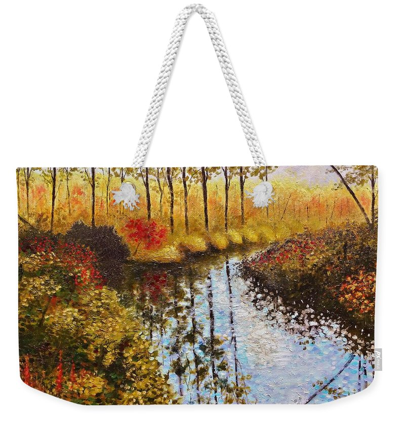 Landscape Weekender Tote Bag featuring the painting Cranberry Bog by Jason Williamson