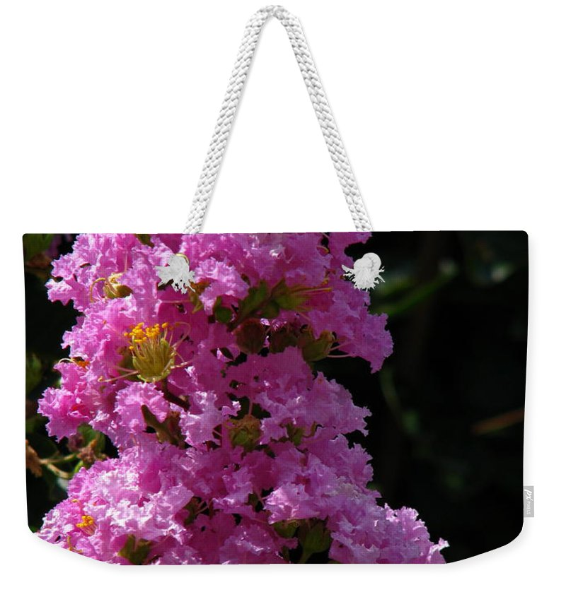 Art For The Wall...patzer Photography Weekender Tote Bag featuring the photograph Crape Myrtle by Greg Patzer