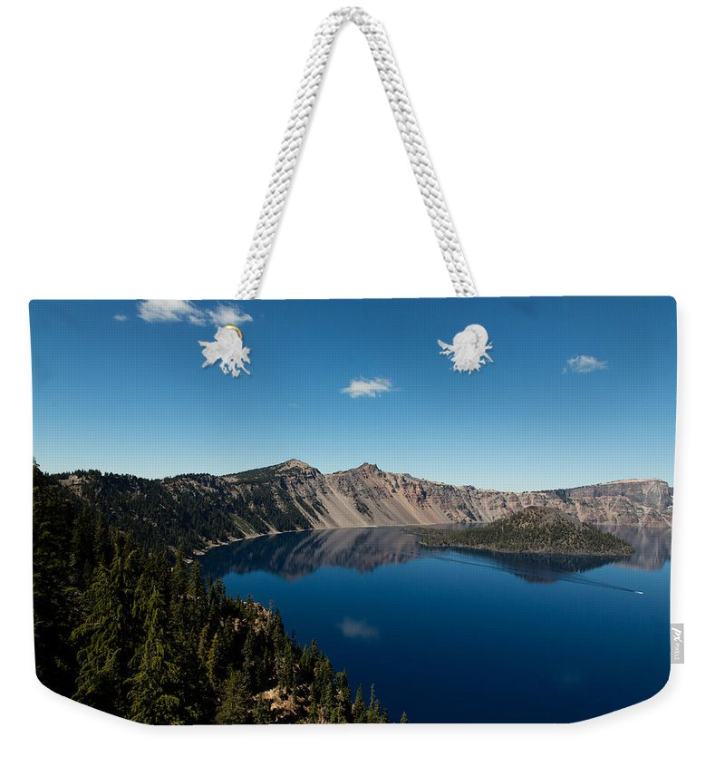 Crater Lake Weekender Tote Bag featuring the photograph Crater Lake And Boat by John Daly