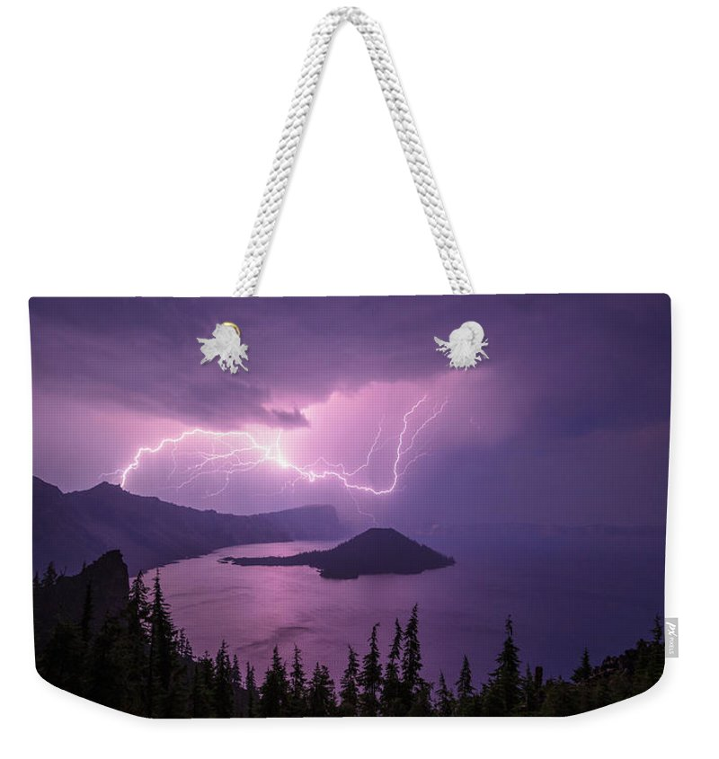 Crater Storm Weekender Tote Bag featuring the photograph Crater Storm by Chad Dutson