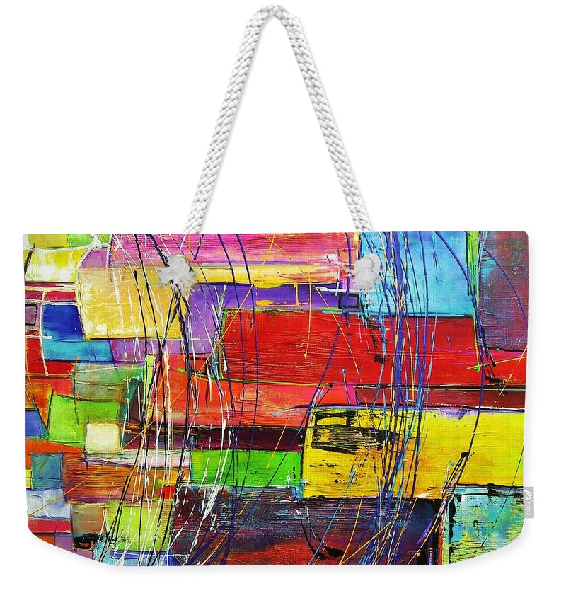 Colour Block Weekender Tote Bag featuring the painting Crazy Abstract by Chris Hobel