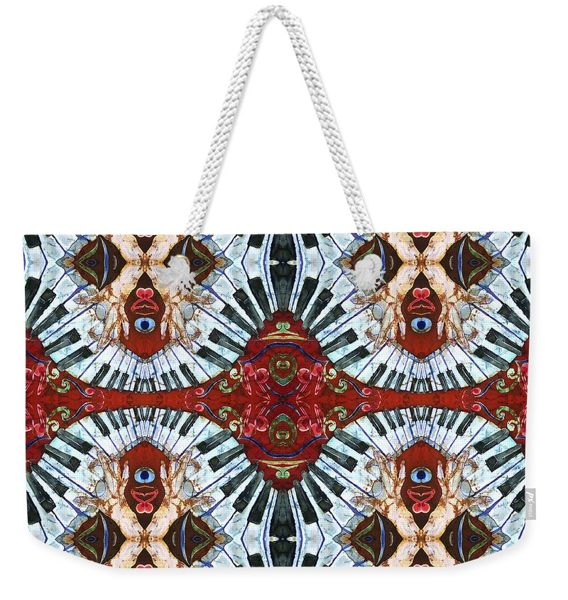 Pianos Weekender Tote Bag featuring the painting Crazy Fingers Piano Tiled by Sue Duda