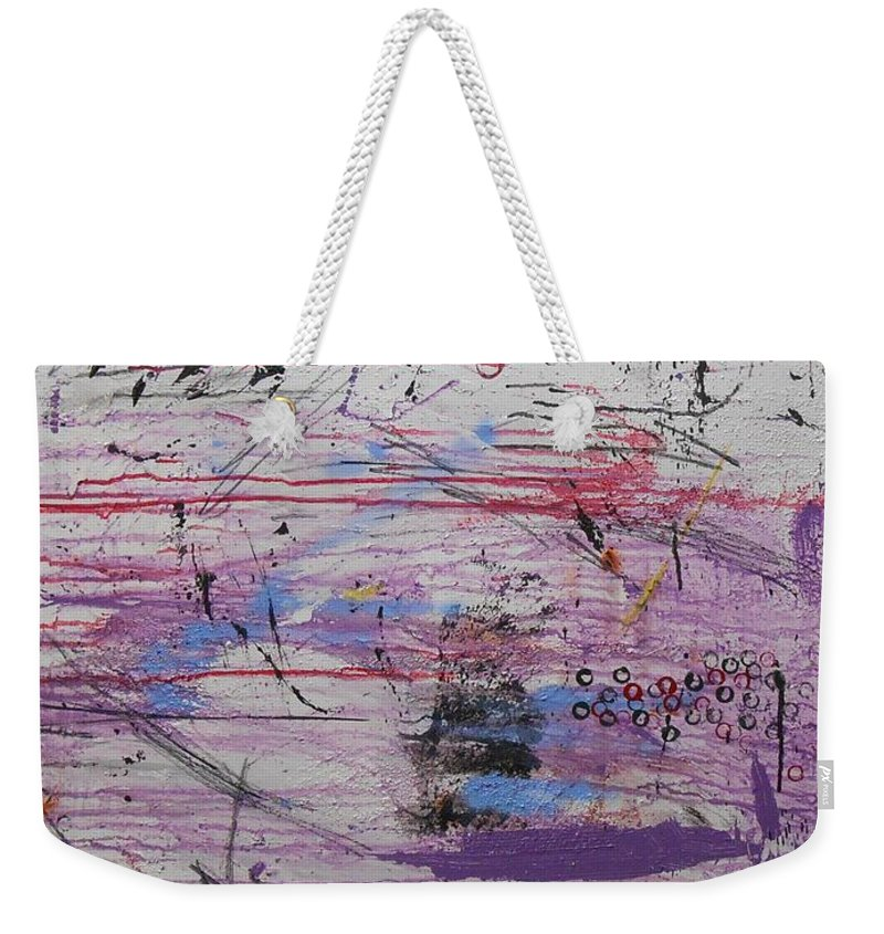 Abstract Weekender Tote Bag featuring the painting Crazy Happy by Gh FiLben