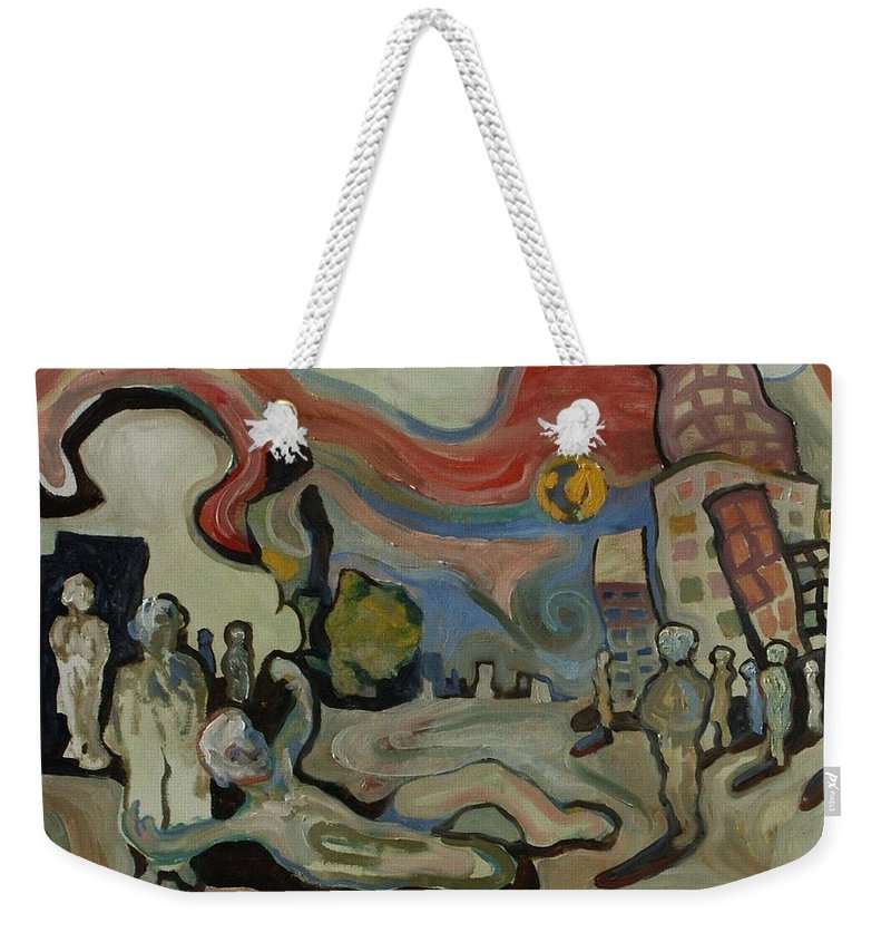 Cityscape Weekender Tote Bag featuring the painting Crazy Moon by John A B Lansdown