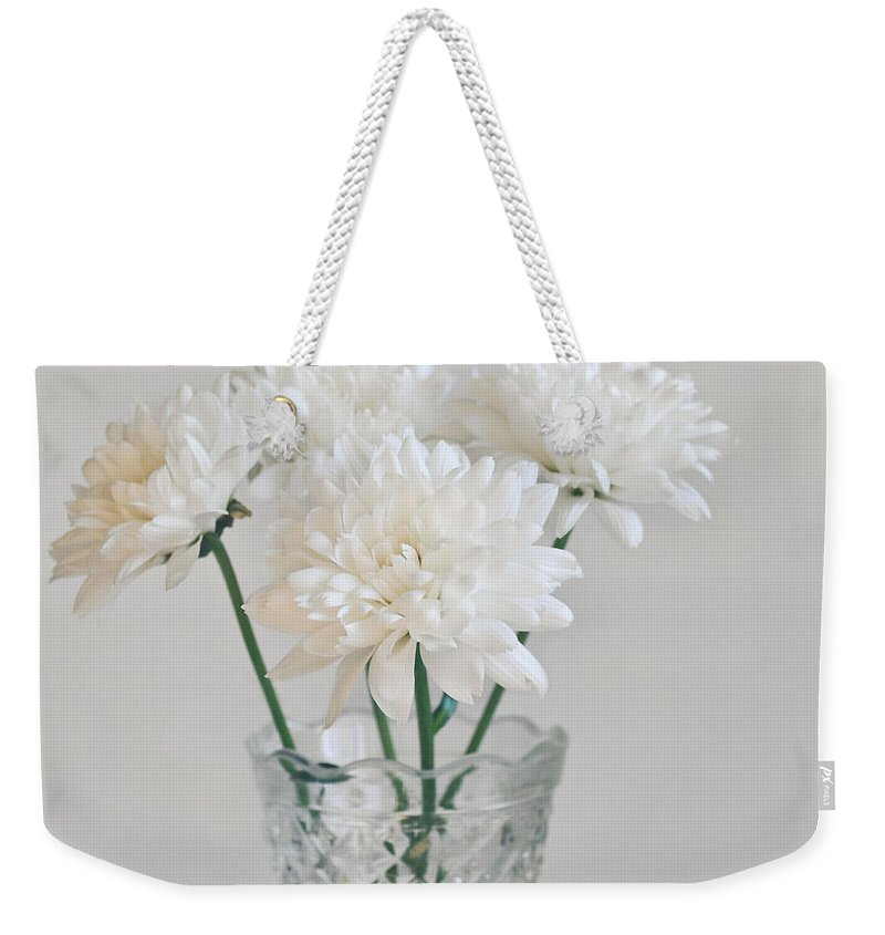 Creamy White Flowers In Tall Vase Weekender Tote Bag For Sale By Lyn