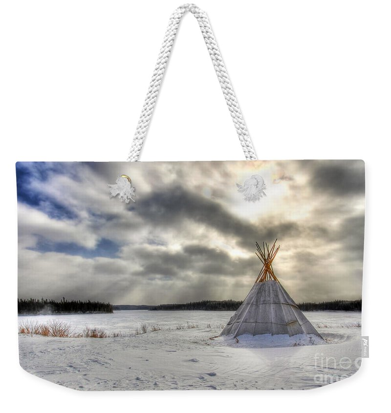 Cree Weekender Tote Bag featuring the photograph Cree Tepee by Mircea Costina Photography