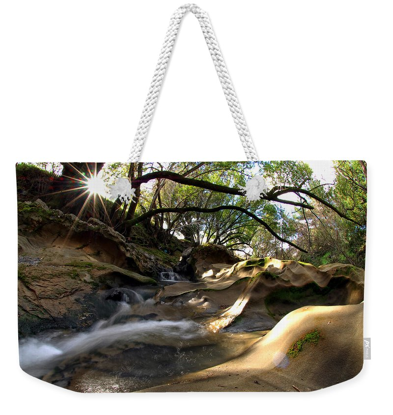 Landscape Weekender Tote Bag featuring the photograph Creekside Sunrise by Donna Blackhall