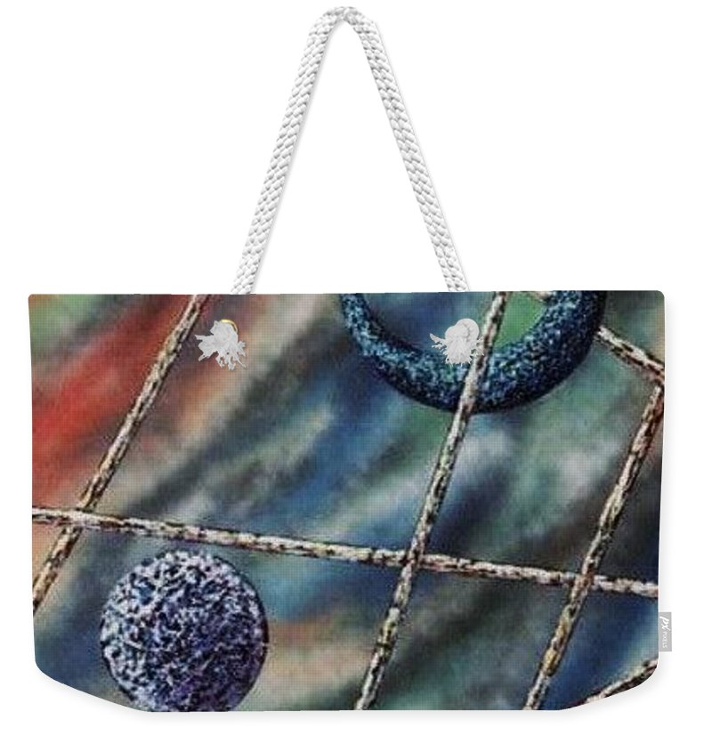 Abstract Weekender Tote Bag featuring the painting Crescent by Micah Guenther
