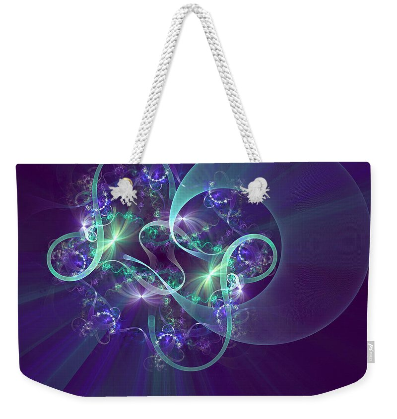 Fractal Weekender Tote Bag featuring the digital art Crescent Moon And Fireworks by Richard Ortolano