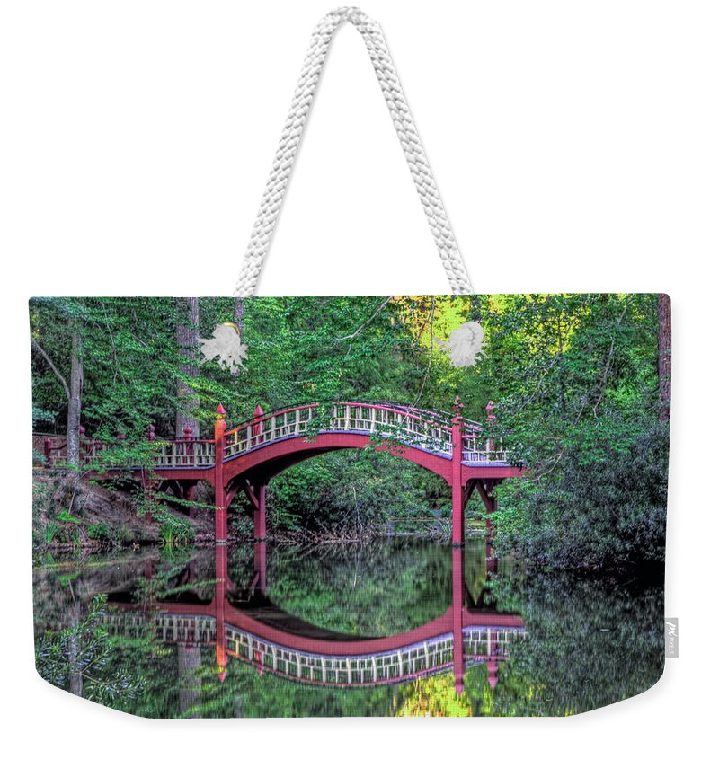 William & Mary Weekender Tote Bag featuring the photograph Crim Dell Bridge In Summer by Jerry Gammon