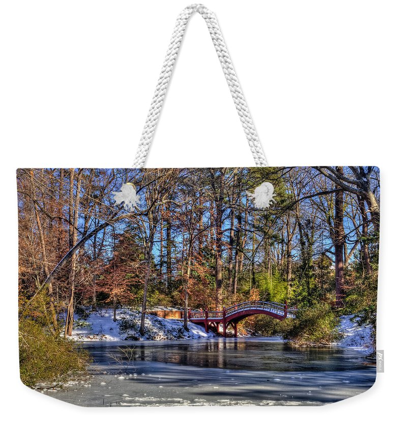 Crim Dell Weekender Tote Bag featuring the photograph Crim Dell In Winter William And Mary by Jerry Gammon