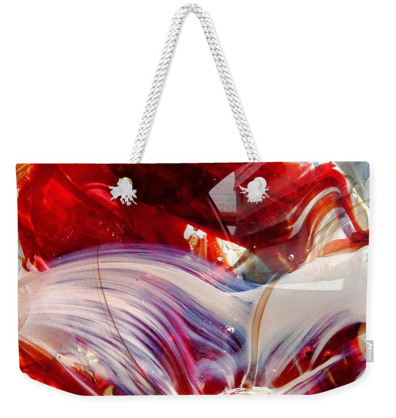 Glass Weekender Tote Bag featuring the photograph Crimson Orb by Angela Rath