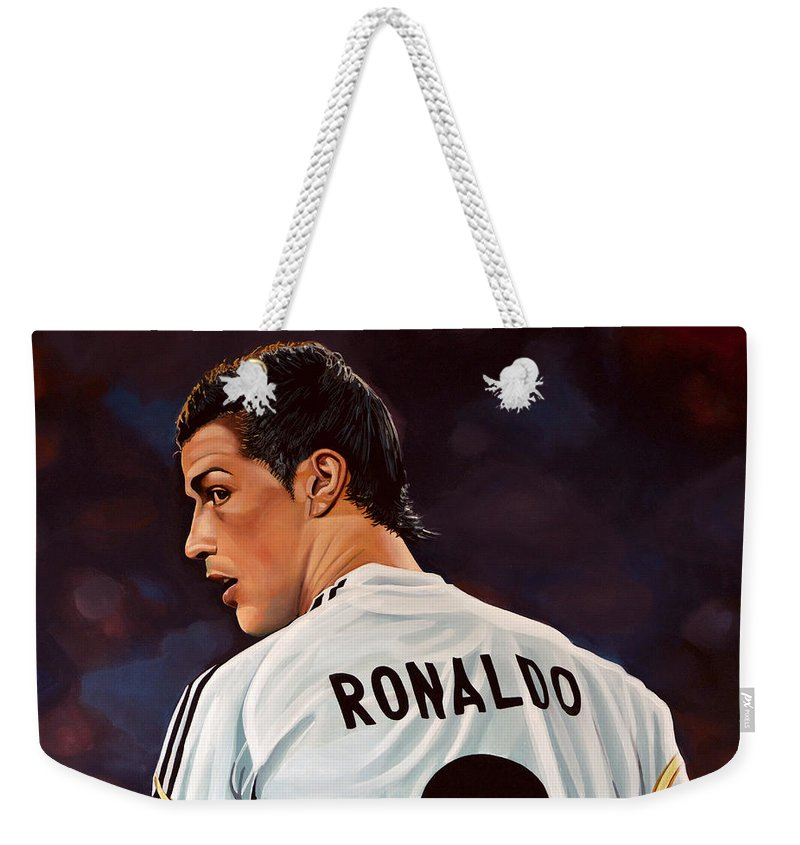 Real Madrid Weekender Tote Bag featuring the painting Cristiano Ronaldo by Paul Meijering
