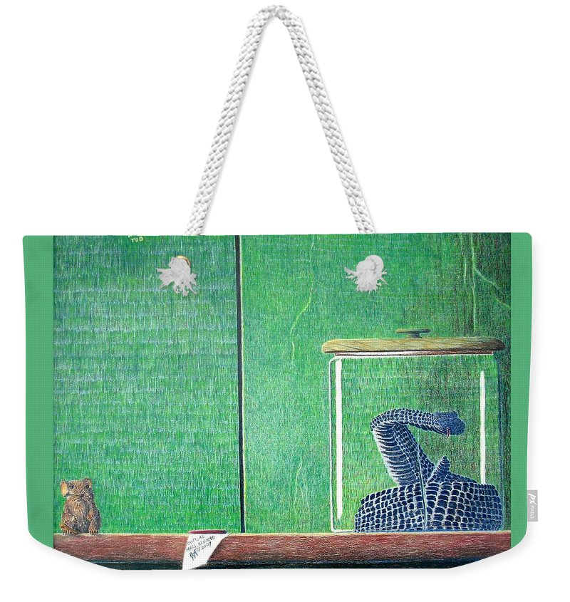 Animal Weekender Tote Bag featuring the painting Critical Mass Revisited by A Robert Malcom