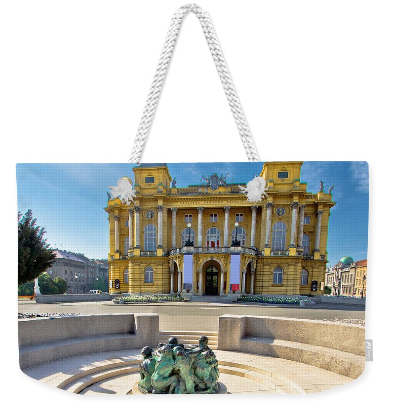 Zagreb Weekender Tote Bag featuring the photograph Croatian Nationa Theater In Zagreb by Brch Photography