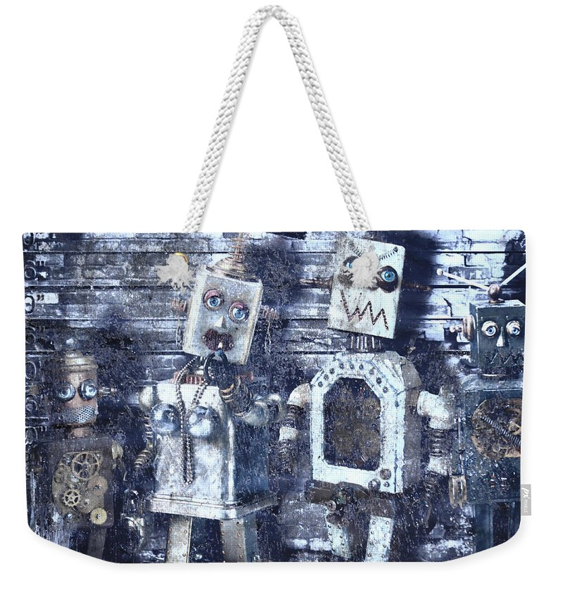Jerry Cordeiro Weekender Tote Bag featuring the photograph Crooks In Machines by The Artist Project