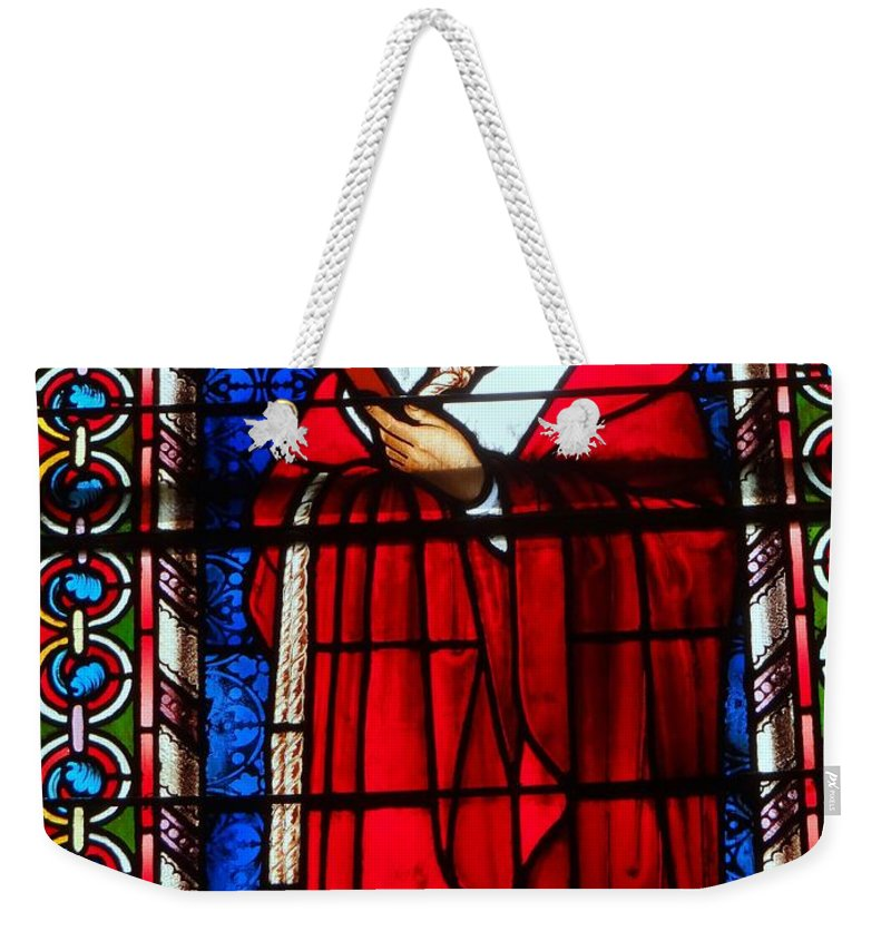 Stained Glass Weekender Tote Bag featuring the photograph Cross And Red Robe by Ed Weidman